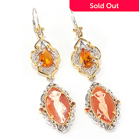 129-013 - Gems en Vogue 18 x 9mm Carved Cameo & Multi Gem Dancing Goddess Drop Earrings