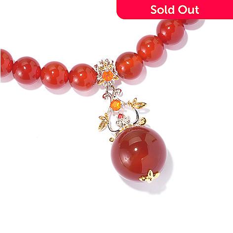 129-014 - Gems en Vogue 20'' Multi Gemstone Floral Drop & Beaded Strand Toggle Necklace