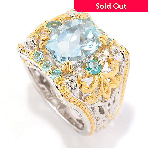 129-015 - Gems en Vogue 3.37ctw Aquamarine, Apatite & White Sapphire Ring