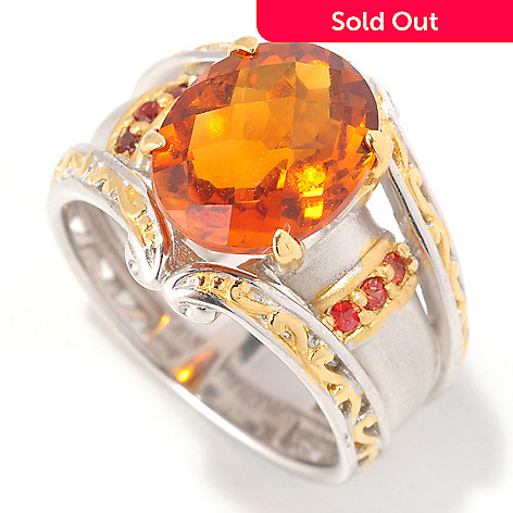 129-018 - Gems en Vogue 3.20ctw Fire Citrine & Orange Sapphire Ring
