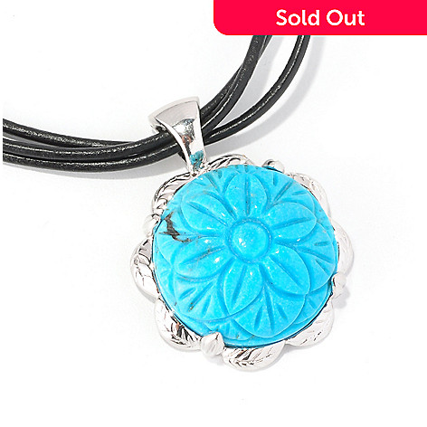 129-020 - Gem Insider™ Sterling Silver 18'' Carved Turquoise Flower Enhancer Pendant