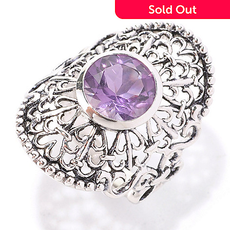 129-022 - Gem Insider™ Sterling Silver 2.10ctw Round Amethyst Oval Lace Ring