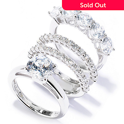129-032 - Brilliante® Platinum Embraced™ 3-Piece 100-Facet Round Simulated Diamond Ring Set