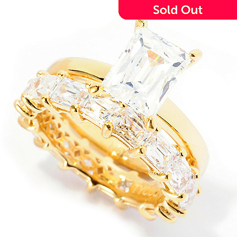 129-033 - TYCOON 5.28 DEW Solitaire & Eternity Band Simulated Diamond Two-Piece Ring Set