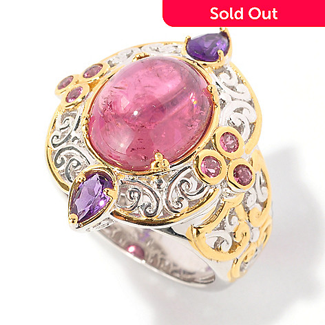 129-035 - Gems en Vogue 12 x 10mm Pink Tourmaline Cabochon & Amethyst Ring