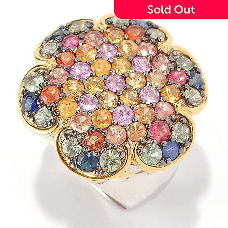 129-036 - Gems en Vogue 4.40ctw Multi Sapphire Flower Top Ring