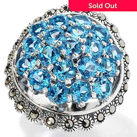 129-040 - Gem Insider™ Sterling Silver 5.70ctw Swiss Blue Topaz & Marcasite Ring