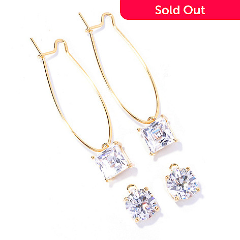 129-051 - TYCOON for Brilliante® 8.08 DEW Interchangeable Square & Round Drop Earrings
