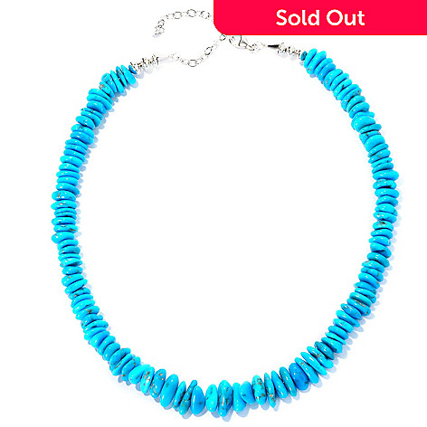 129-054 - Gem Insider™ Sterling Silver 18'' Freeform American Turquoise Bead Necklace