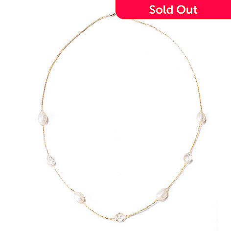 129-061 - Italian Designs with Stefano 14K Gold 18'' Freshwater Cultured Pearl & Rock Crystal Necklace