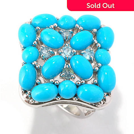 129-068 - Gem Insider™ Sterling Silver Sleeping Beauty Turquoise & Blue Topaz Square Ring
