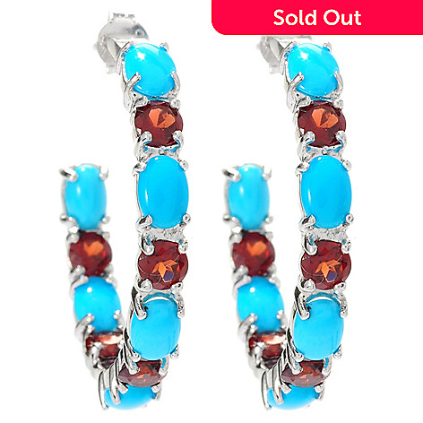 129-070 - Gem Insider™ Sterling Silver Sleeping Beauty Turquoise & Topaz J-Hoop Earrings