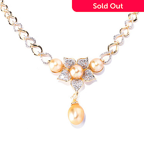 129-071 - Gold Embraced™ 18'' Golden South Sea Cultured Pearl & White Topaz Flower Necklace