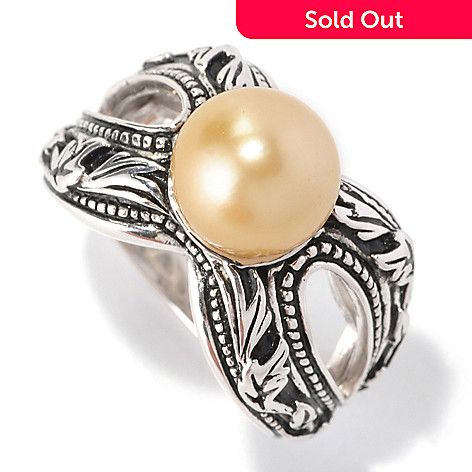 129-075 - Sterling Silver 9-10mm Golden South Sea Cultured Pearl Cut-out Ring