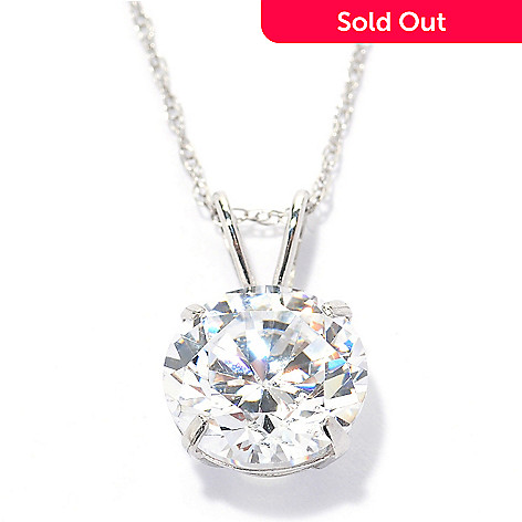 129-079 - Brilliante® 14K Gold Essentials™ 3.00 DEW Solitaire Pendant w/ Chain