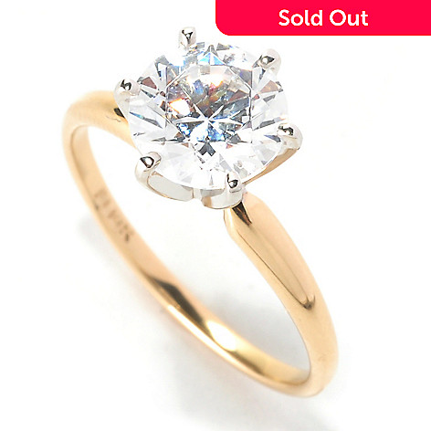 129-081 - Brilliante® 14K Gold Essentials™ Simulated Diamond Solitaire Ring