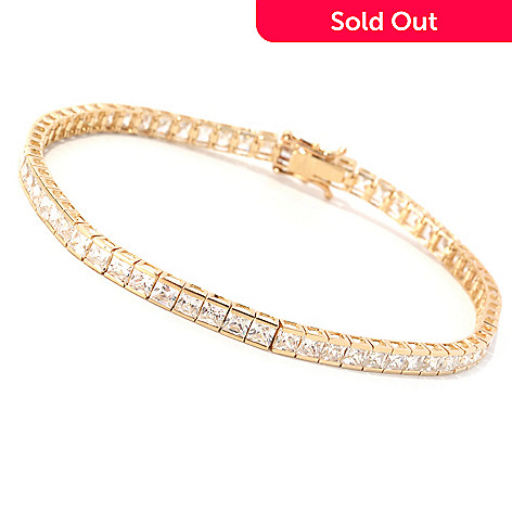 129-084 - Brilliante® 14K Gold Essentials™ Square Tension Set Tennis Bracelet