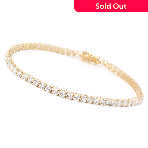 129-085 - Brilliante® 14K Gold Essentials™ Simulated Diamond Tennis Bracelet