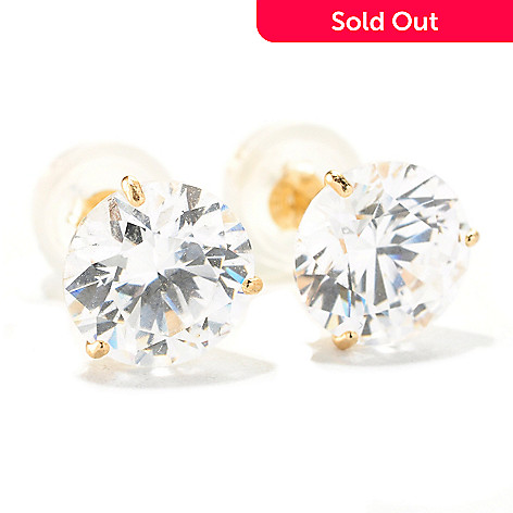 129-087 - Brilliante® 14K Gold Essentials™ 3.00 DEW Stud Earrings