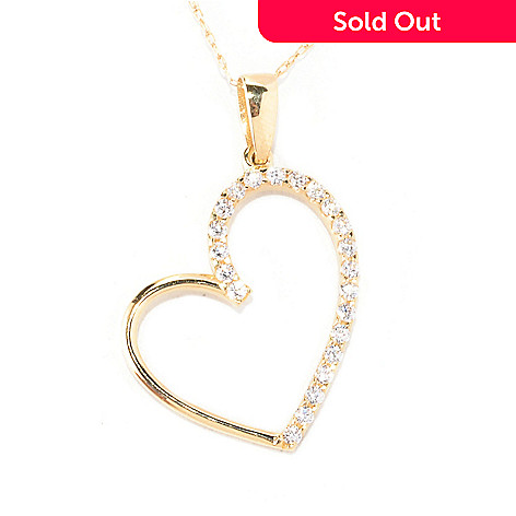 129-090 - Brilliante® 14K Gold Essentials™ Round Cut Heart Pendant w/ Chain