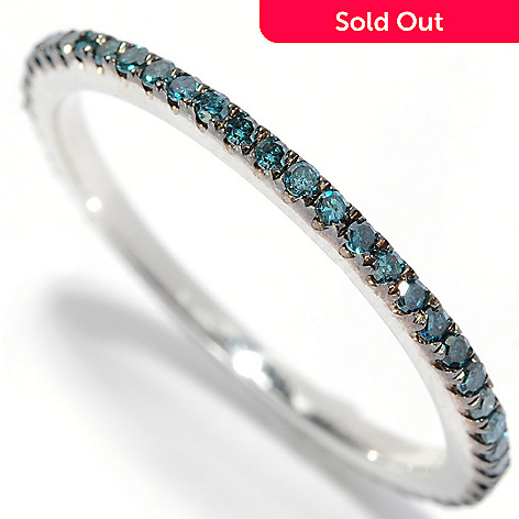 129-091 - Diamond Treasures® Sterling Silver 0.25ctw Fancy Color Diamond Eternity Band Ring