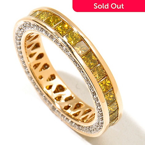 129-092 - Diamond Treasures 14K Gold 2.50ctw Fancy Color & White Diamond Eternity Band Ring