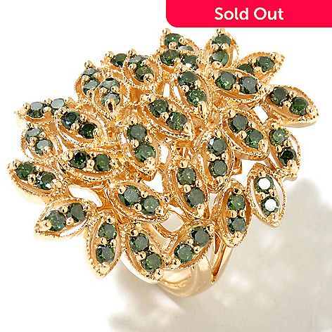 129-093 - Diamond Treasures 14K Gold 1.75ctw Green Diamond Marquise Shape Ring