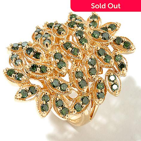 129-093 - Diamond Treasures® 14K Gold 1.75ctw Green Diamond Marquise Shape Ring