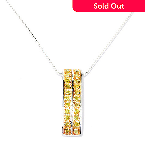 129-094 - Diamond Treasures® Sterling Silver 0.25ctw Fancy Color Diamond Pendant w/ Chain