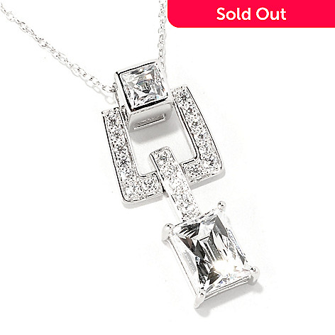 129-096 - TYCOON Platinum Embraced™ 3.50 DEW Rectangle Simulated Diamond Drop Pendant