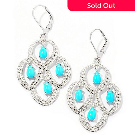 129-099 - Gem Insider® Sterling Silver Pear Shaped Sleeping Beauty Turquoise Earrings