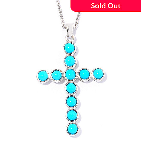 129-100 - Gem Insider™ 18'' Sterling Silver Sleeping Beauty Turquoise Cross Pendant w/ Chain