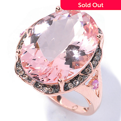 129-175 - Gem Treasures® 14K Rose Gold 10.38ctw Morganite, Pink Sapphire & Mocha Diamond Ring