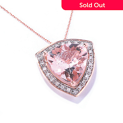 129-176 - Gem Treasures® 14K Rose Gold 4.30ctw Morganite & Diamond Trillion Pendant w/ Chain