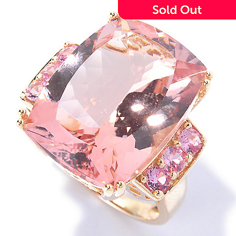 129-179 - Gem Treasures 14K Gold 17.46ctw Cushion Cut Morganite & Pink Sapphire Ring