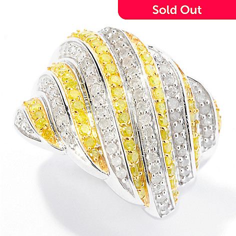 129-183 - Diamond Treasures® Sterling Silver 1.00ctw Yellow & White Diamond Wide Band Ring