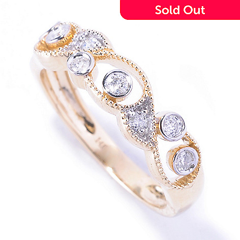 129-187 - Diamond Treasures® 14K Gold 0.20ctw Bezel & Prong Set Diamond Band Ring
