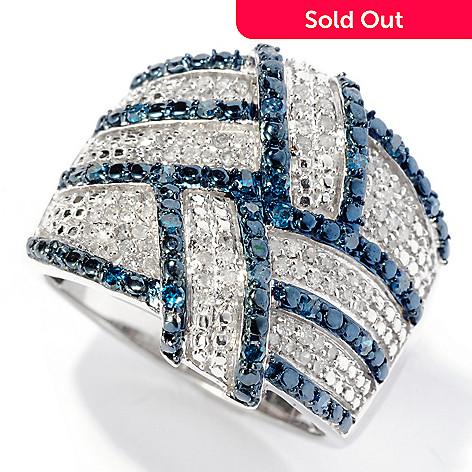 129-188 - Diamond Treasures® Sterling Silver 0.50ctw Blue & White Diamond Weave Ring