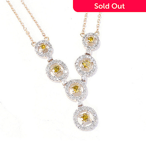129-189 - Diamond Treasures 14K Gold 17.5'' 1.25ctw Yellow & White Diamond ''Y'' Necklace