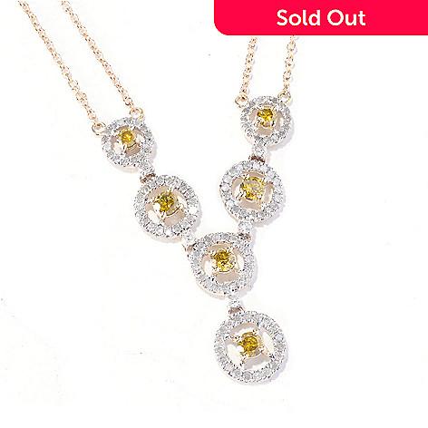 129-189 - Diamond Treasures® 14K Gold 17.5'' 1.25ctw Yellow & White Diamond ''Y'' Necklace