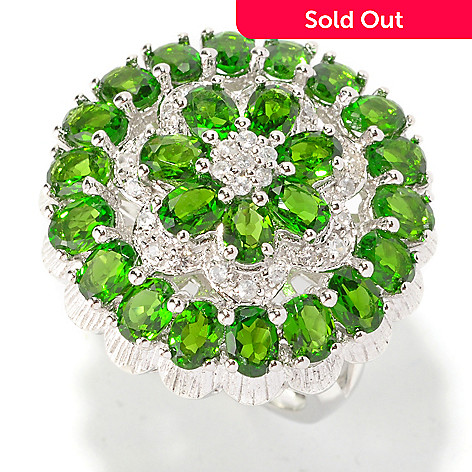 129-197 - NYC II 4.77ctw Chrome Diopside & White Zircon Flower Ring