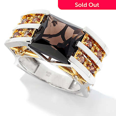 129-203 - Men's en Vogue 8.62ctw Smoky Quartz & Multi Gemstone Ring