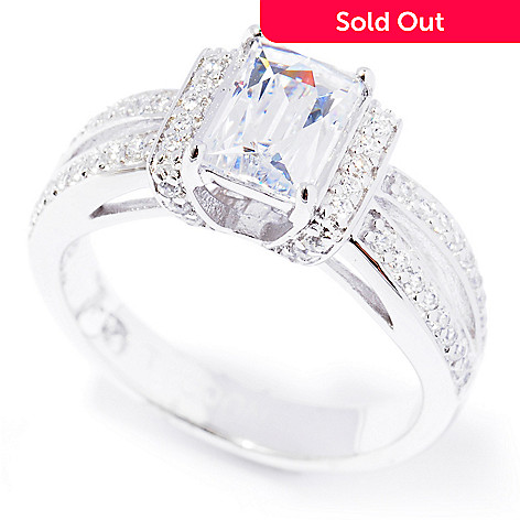 129-206 - TYCOON Platinum Embraced™ 1.48 DEW Simulated Diamond Rectangle & Round Ring