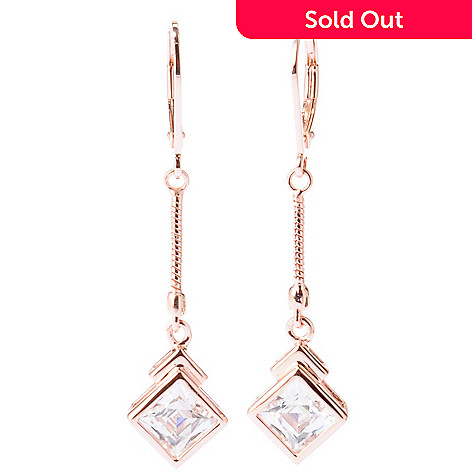 129-210 - TYCOON 1.75'' 2.52 DEW Square Cut Bezel Set Drop Earrings