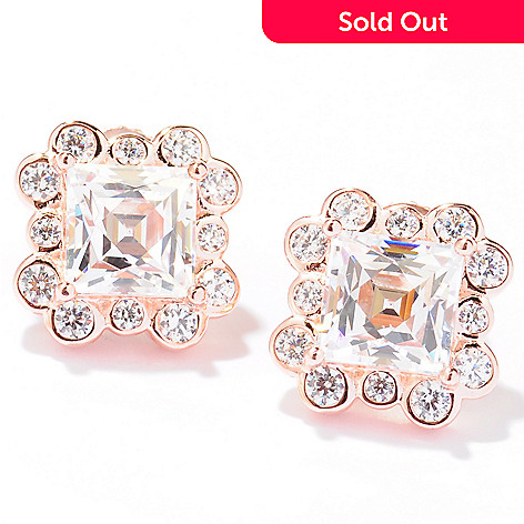 129-211 - TYCOON 3.30 DEW Square & Round Simulated Diamond Halo Stud Earrings