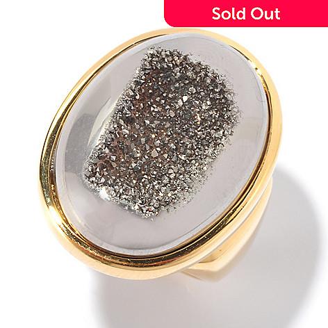 129-220 - Portofino 18K Gold Embraced™ 24 x 17mm Drusy Oval Ring