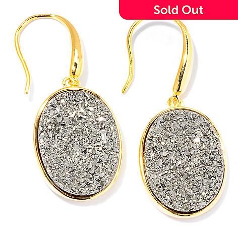 129-221 - Portofino Gold Embraced™ 19 x 15mm Silver Drusy Drop Earrings