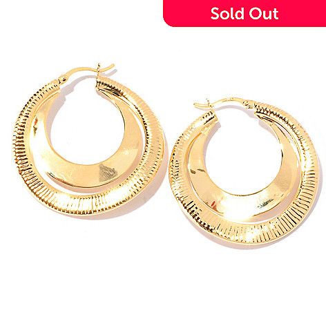 129-222 - Portofino Gold Embraced™ Double Texture Hoop Earrings
