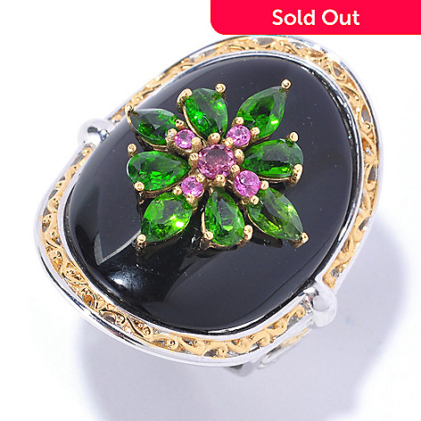 129-229 - Gems en Vogue 25 x 20mm Black Onyx & Multi Gemstone Curved Ring