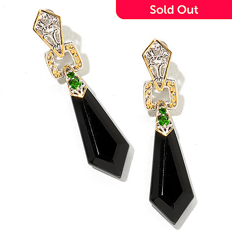 129-230 - Gems en Vogue 30 x 12mm Kite Shaped Onyx & Chrome Diopside Drop Earrings